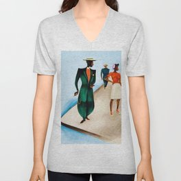 African American Masterpiece 'There She Was (First Time in Harlem) Zoot Suit' by Charles Alston Unisex V-Neck