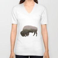 bison V-neck T-shirts featuring Bison by James Wetherington