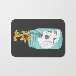 Skull in Jar with Flowers Bath Mat