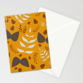 Autumn leaves and acorns - ochre and gray Stationery Cards