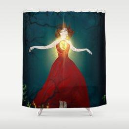 Lighted Heart Shower Curtain