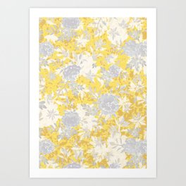 Elegant Abstract Grey Yellow Floral Silhouettes Pattern Art Print