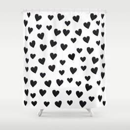 Hearts Love Black and White Pattern Shower Curtain