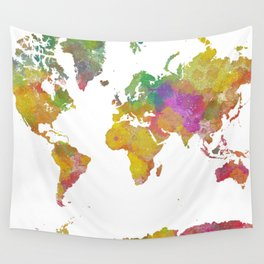 Map of the World - Watercolor 5 Wall Tapestry