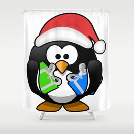 Penguin with Gifts Shower Curtain