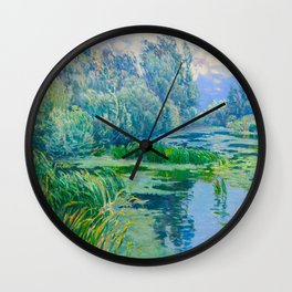 Václav Radimský (1867-1946) At The Confluence Colorful Bright Impressionist Oil Landscape Painting Wall Clock