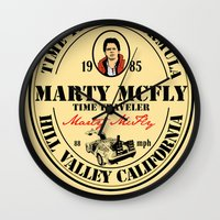 marty mcfly Wall Clocks featuring Marty McFly by SuperEdu