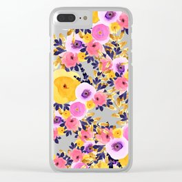Pink purple lavender yellow hand painted watercolor floral Clear iPhone Case