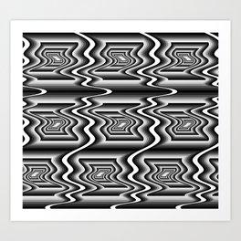 Grey Optical Pattern Art Print
