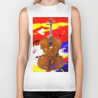 cello Biker Tanks featuring Mellow Cello by Brian Raggatt