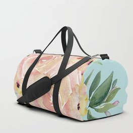 Wild Roses on Succulent Blue Green Duffle Bag