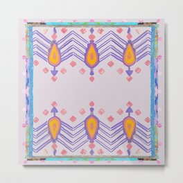 Painted Indian Tribal Pattern Dusky Pink Metal Print