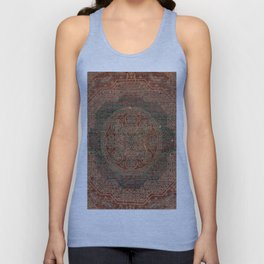 Bohemian Medallion I // 15th Century Old Distressed Red Green Colorful Ornate Accent Rug Pattern Unisex Tank Top