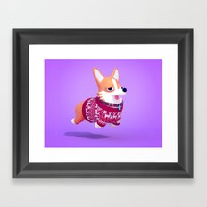 Dogs In Sweaters: Corgi Framed Art Print