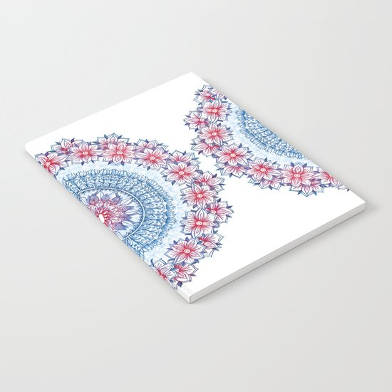 Red, Blue & White Floral Medallion Notebook