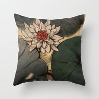 lotus Throw Pillows featuring Lotus by Corinne Reid
