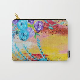 MORE IS MORE - Gorgeous Floral Abstract Acrylic Bouquet Colorful Ikat Roses Summer Flowers Painting Carry-All Pouch