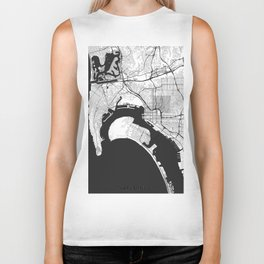 San Diego Map Gray Biker Tank
