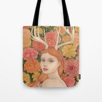 dahlia Tote Bags featuring Dahlia by Marcela Badolatto
