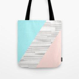 Abstract gray wood coral aqua color block Tote Bag