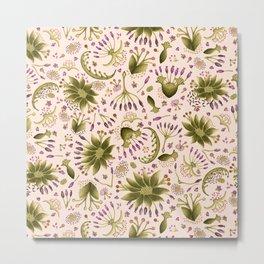 Botanical Wildflower Meadow Floral Watercolor Pink, Green, Lavender Flowers Metal Print