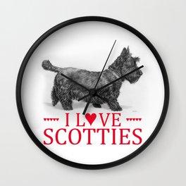 I Love Scotties Wall Clock