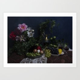 Classic  still life with flowers, fruit, vegetables and wine Art Print