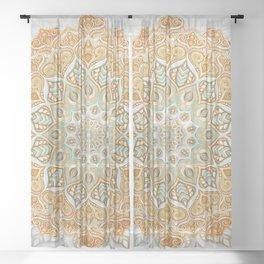 Dreamy Boho Mandala in Mustard, Sage and White Sheer Curtain