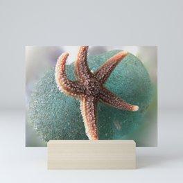 Starfish on Ocean Blue Sea Glass Mini Art Print