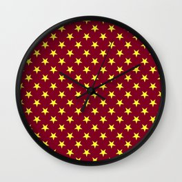 Electric Yellow on Burgundy Red Stars Wall Clock