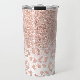 Trendy modern faux rose gold glitter ombre leopard pattern Travel Mug