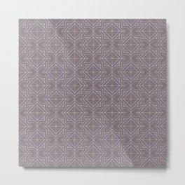 Minimal Geometric Pattern on Aubergine Background Metal Print