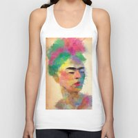 frida kahlo Tank Tops featuring frida kahlo by vale agapi