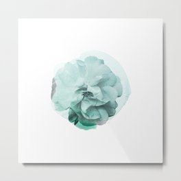 Green Rose Watercolor Metal Print