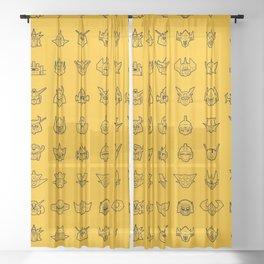 071 70s Robots Sheer Curtain