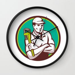 Plumber Monkey Wrench Arms Crossed Circle Retro Wall Clock