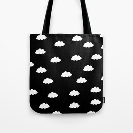White clouds in black background Tote Bag