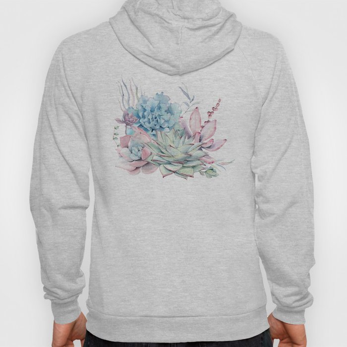 Pretty Pastel Succulents Hoody