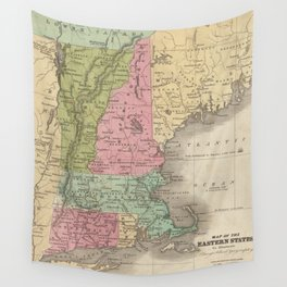 Vintage Map of New England (1829) Wall Tapestry