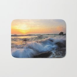 Ocean Sunset at Beach in California (Popular Print & Popular Tapestry) Bath Mat