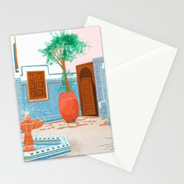 Moroccan Villa, Architecture Interior Design Painting, Tropical Tiles Exotic Travel Illustration Stationery Cards