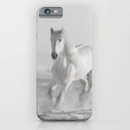 White Thoroughbred Horse Playing in Winter Snow black and white photograph / art photography iPhone Case