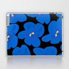 Blue Retro Flowers on Black Background Laptop & iPad Skin