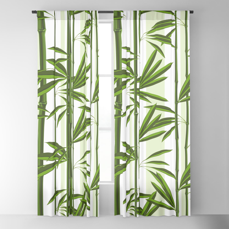 Green Bamboo Tree Shoots Pattern Blackout Curtain By Artonwear