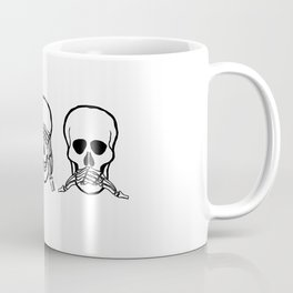 Three wise skulls, see, hear, speak no evil Coffee Mug