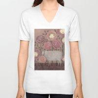 sleeping beauty V-neck T-shirts featuring Sleeping beauty by Judith Clay