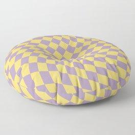 Purple and Yellow Checker Swirl Pattern Floor Pillow