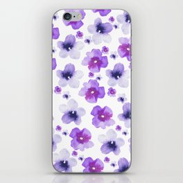 Modern purple lavender watercolor floral pattern iPhone Skin