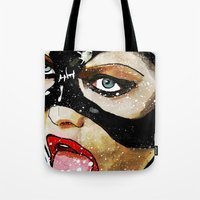 catwoman Tote Bags featuring Catwoman by Ed Pires