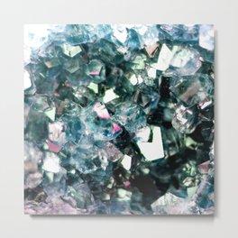 Geode Crystal Turquoise Pink Quartz Metal Print